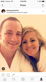 """Lindsey Sink Dasher, of Krusch & Sellers  """"Thankful to celebrate 5 years of marriage with my husband at the Ballantyne Spa this weekend. Nothing beats a day or two of relaxation and pampering. #livingabovethebar"""""""