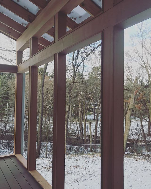 Cedar-wrapped screened porch, pre-stain, pre-hand-rail and pre-screens, is already a stunner. It's almost like we framed the view. Who says it's not a four season porch?  Hot cocoa, and holiday decor, here we come. . . . . #mondaymotivation #progressshot #sneakpeek #greencreekhouse #cedarposts #screenedporch #newdeck #viewofthecreek #minnehahacreek #natureinspired #homerenovation