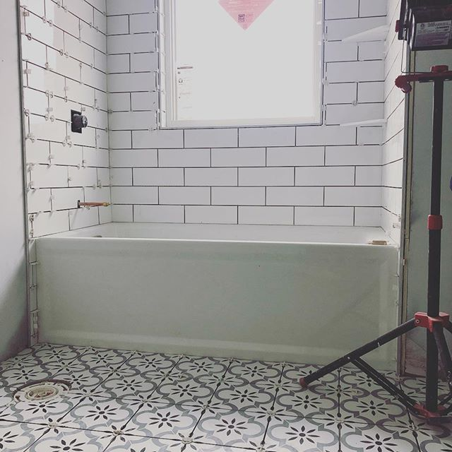Hello tile 👋! This bathroom will have a timeless yet contemporary look, with 4x12 subway tile and a beautiful encaustic floor pattern. #encaustictile #timelessdesign #hopkinsmn #greatclientsmakegreatprojects
