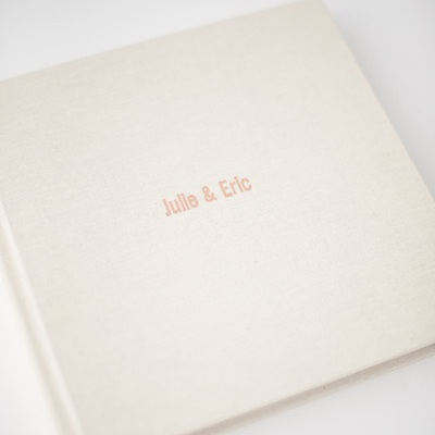 Debossing - Imprint your personalized text on the cover of your album. Colors range from rose gold foil, silver foil, gold foil, and clear finish.
