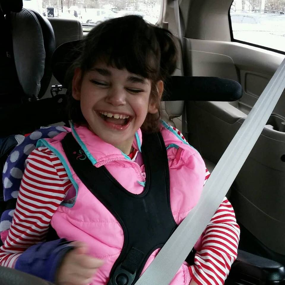 Abigail in her new to us wheelchair van after fundraising for over one year!