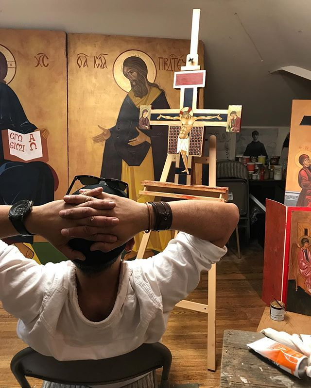 Artist reviews his work. #iconography #religiousart #chicagoartist #chicagocatholicchurch #chicagoarts #catholicart