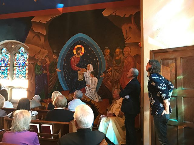 Joe's mural of the Resurrection was blessed today. #chicagocatholic #chicagoarts #religiousiconography #religiousart