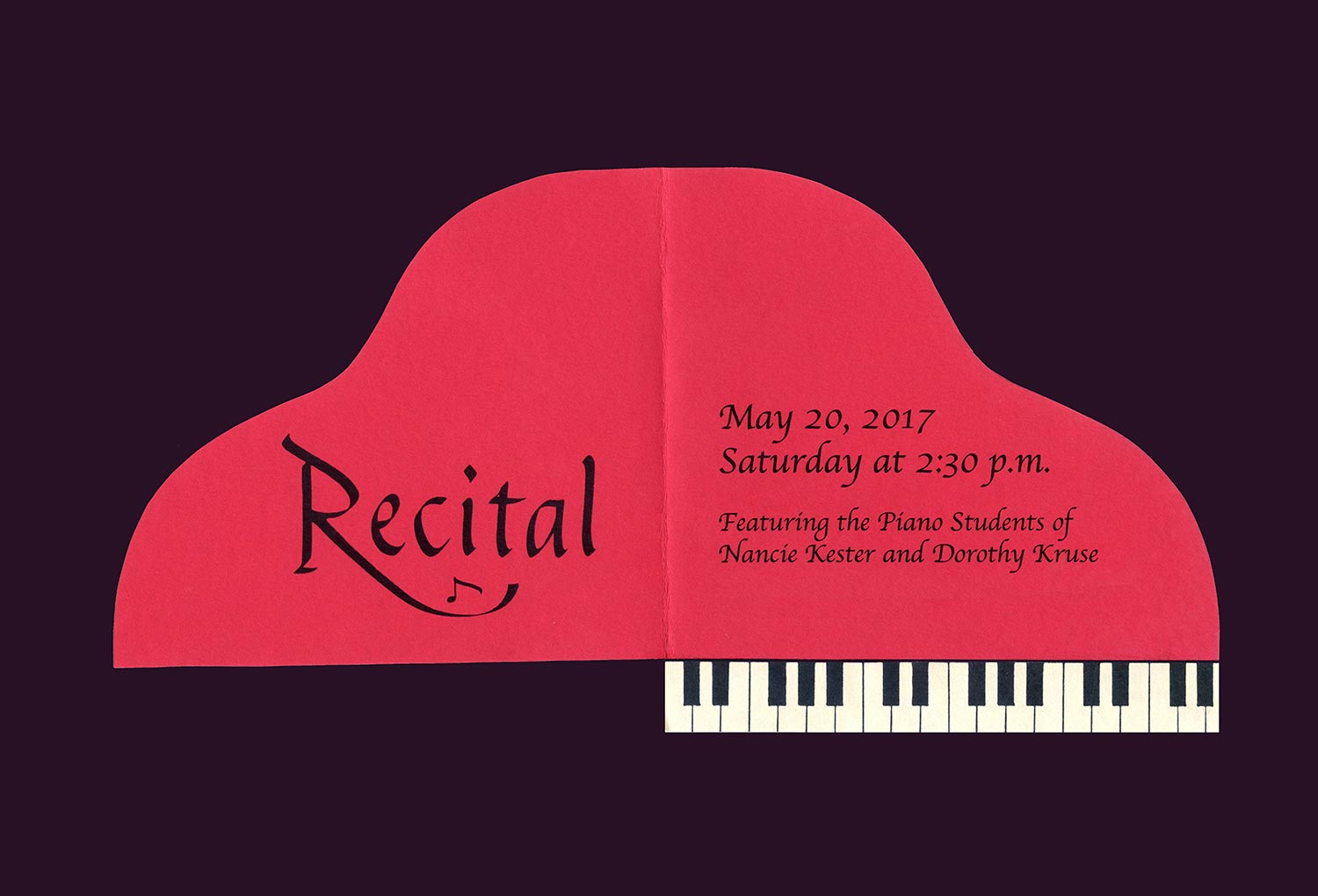 Nancie Kester 2017 Piano Recital Invitation