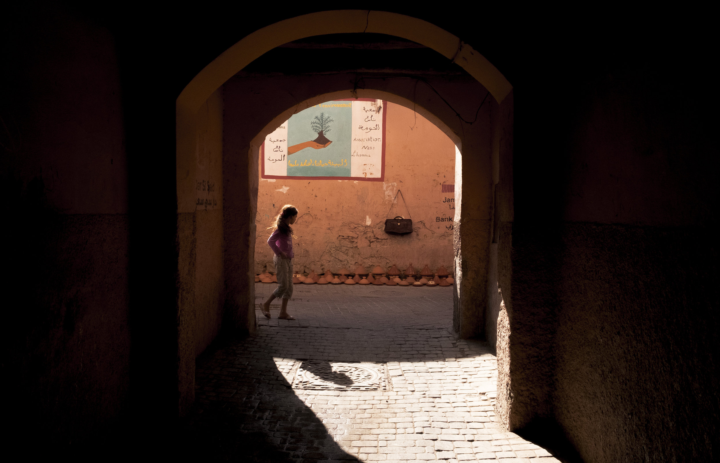 Tunnel Vision - studying tunnel lights and people in Marrakesh