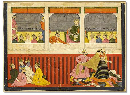 Ancient depiction of Draupadi myth.