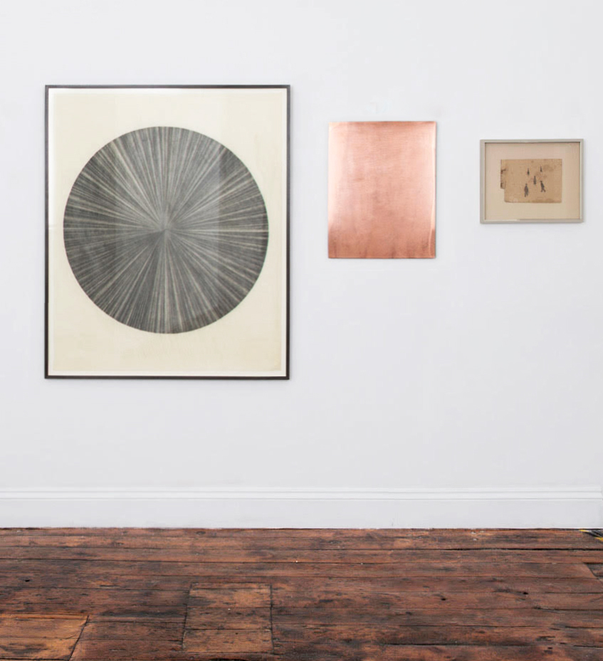 Installation View, Humble Black Line,  'Wheel' and 'Descent' etching Plate