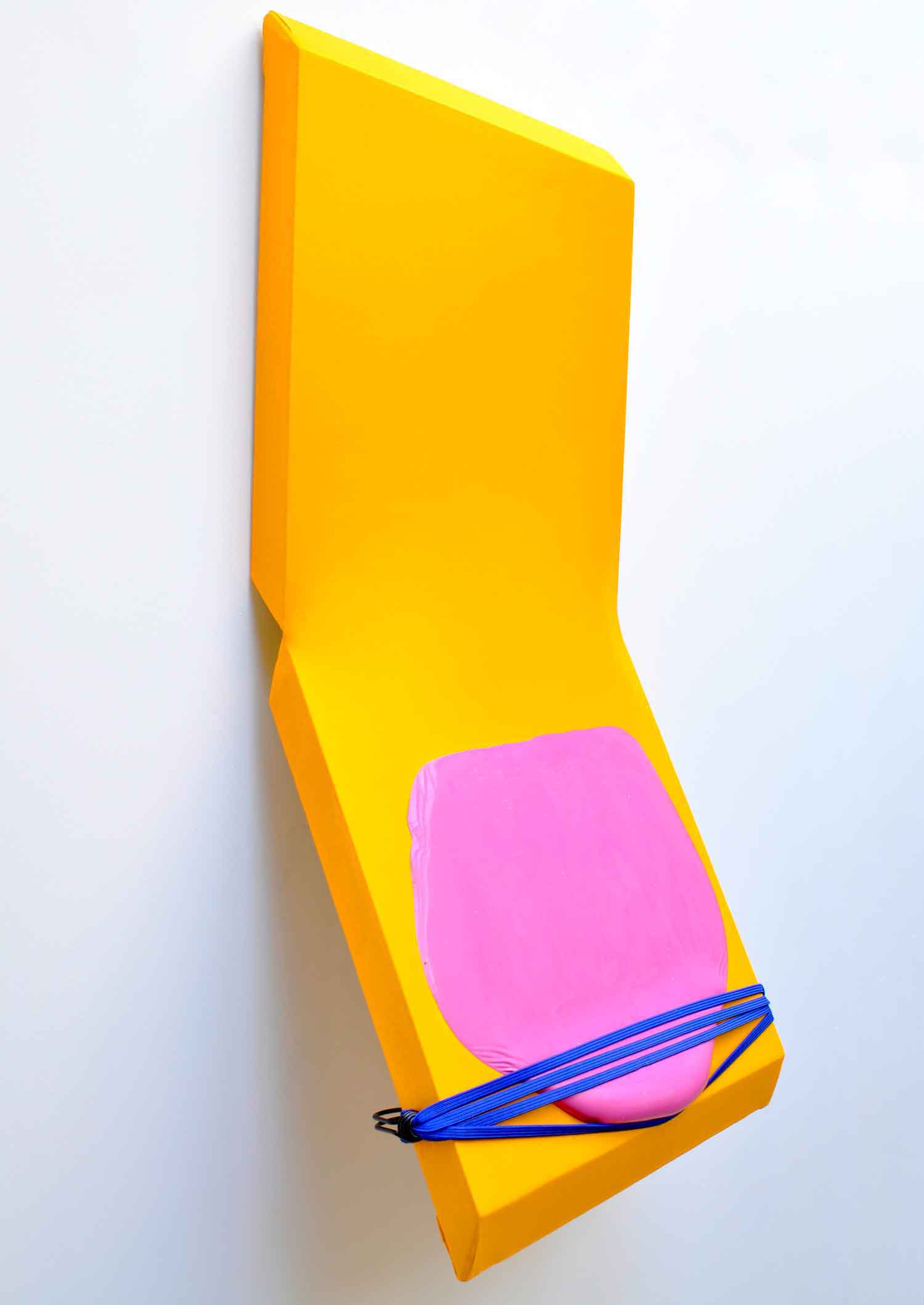 UNYIELDING COLOUR, 2016  Household paint on hinged canvas with elastic 90cm x 45cm x 25cm