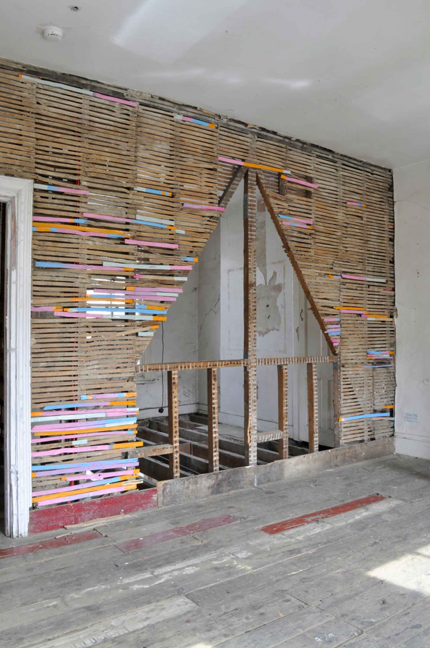 SALVAGE, 2016  A painting installation at the Safehouse exhibition space in Peckham, London.    Household paint on salvaged laths.