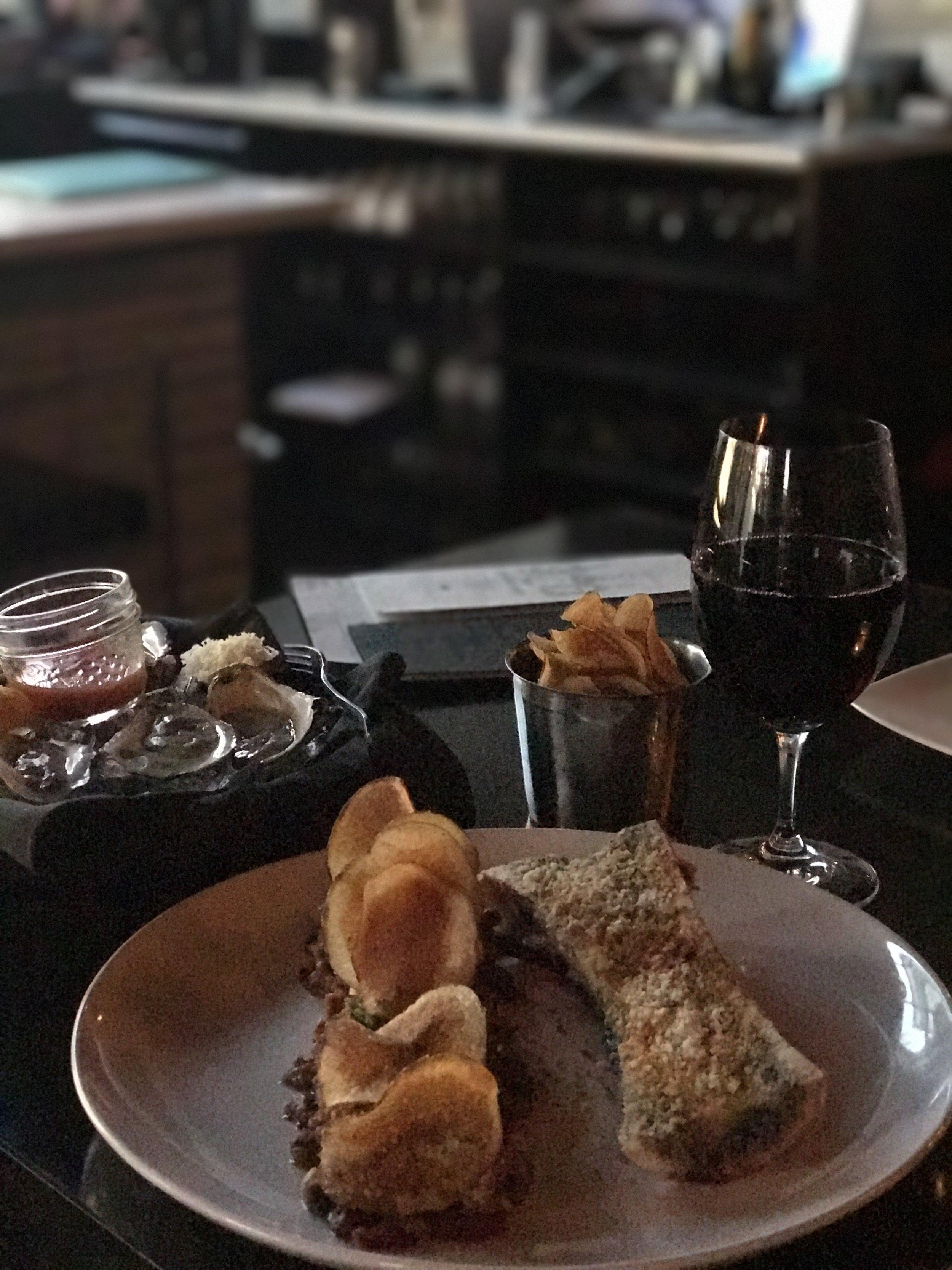 Tuesday night at gilt - Beautiful oysters, marrow + tartare main