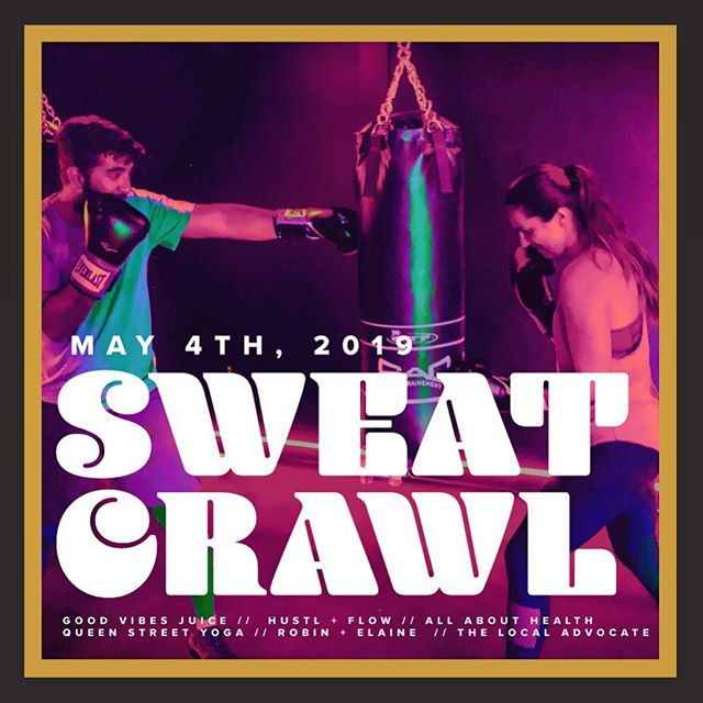 Sweat Crawl 2.0 is here!! @robinandelaine and @thelocaladvocate, along with @hustlandflow @goodvibesjuicecompany @allabouthealthtraining @queenstreetyoga have partnered for a morning full of spin/ boxing, running, outdoor workouts and yoga... and this time, we are opening it up to double the amount of people!! Tickets in bio 💪🏼