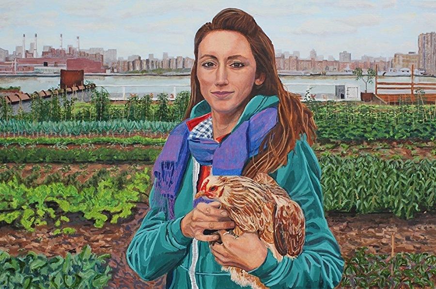 Annie with her chicken