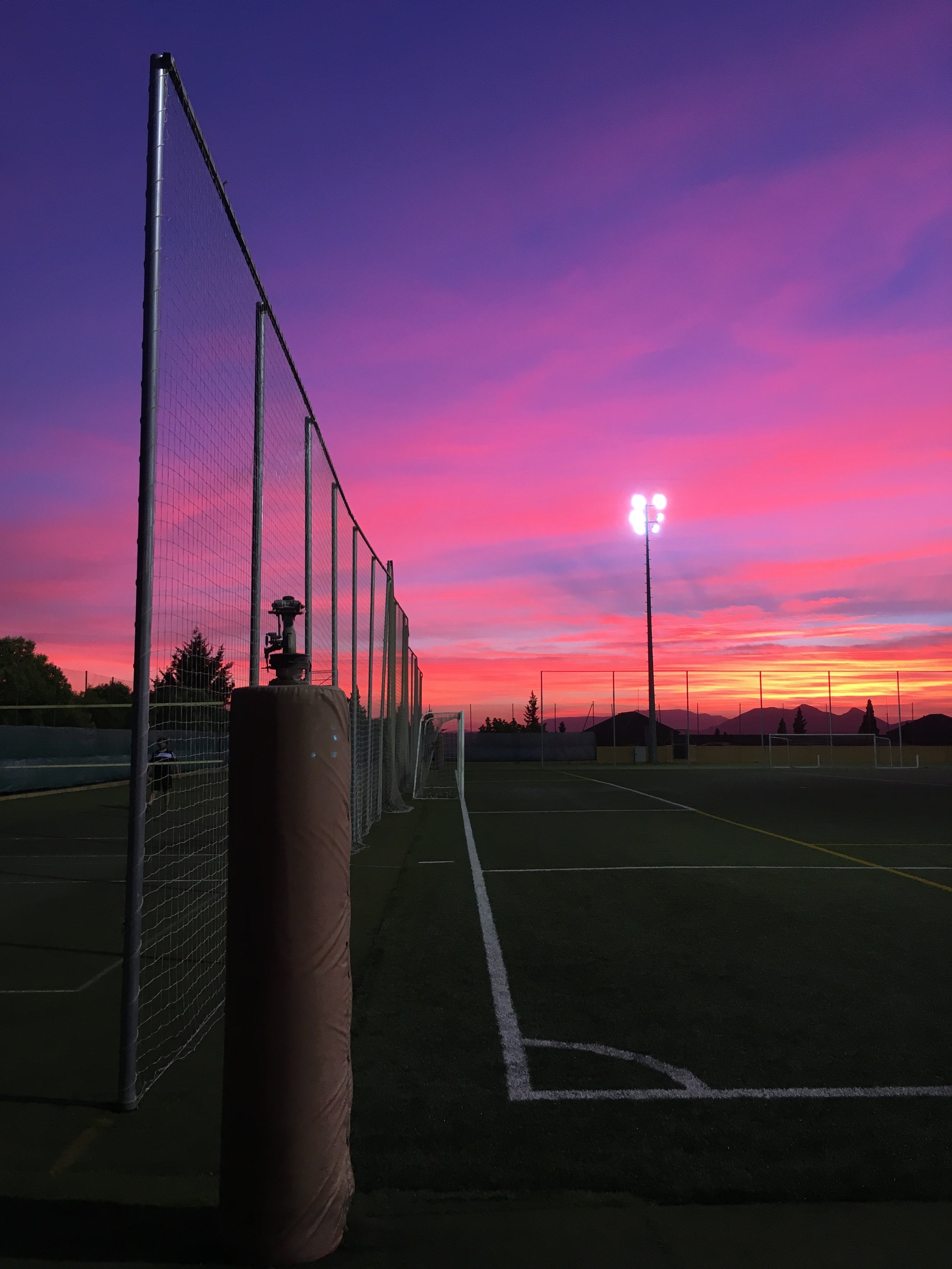 Beautiful sunsets as we about to play soccer are always fun.