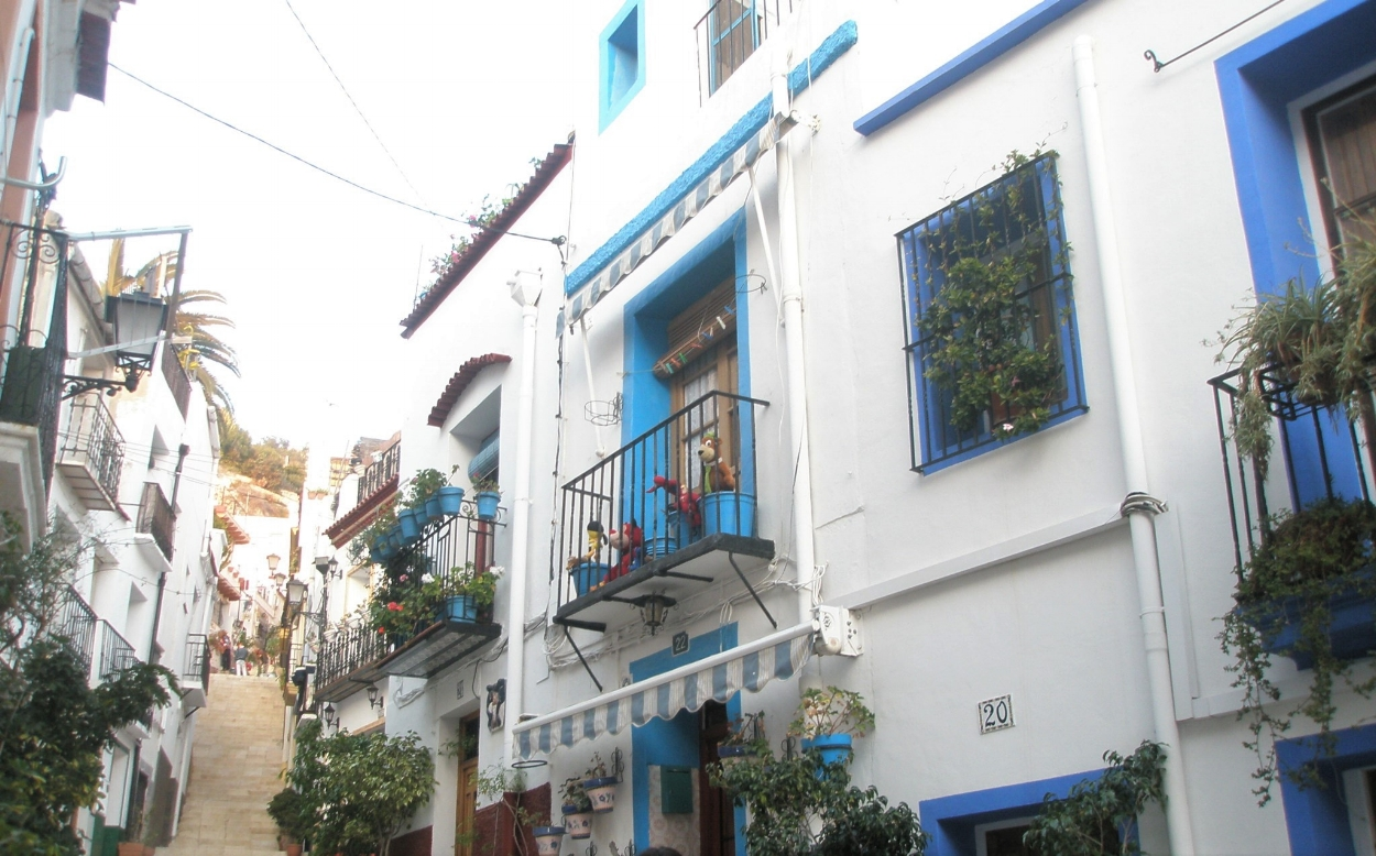 Get lost in this neighborhood of traditional white Spanish houses.