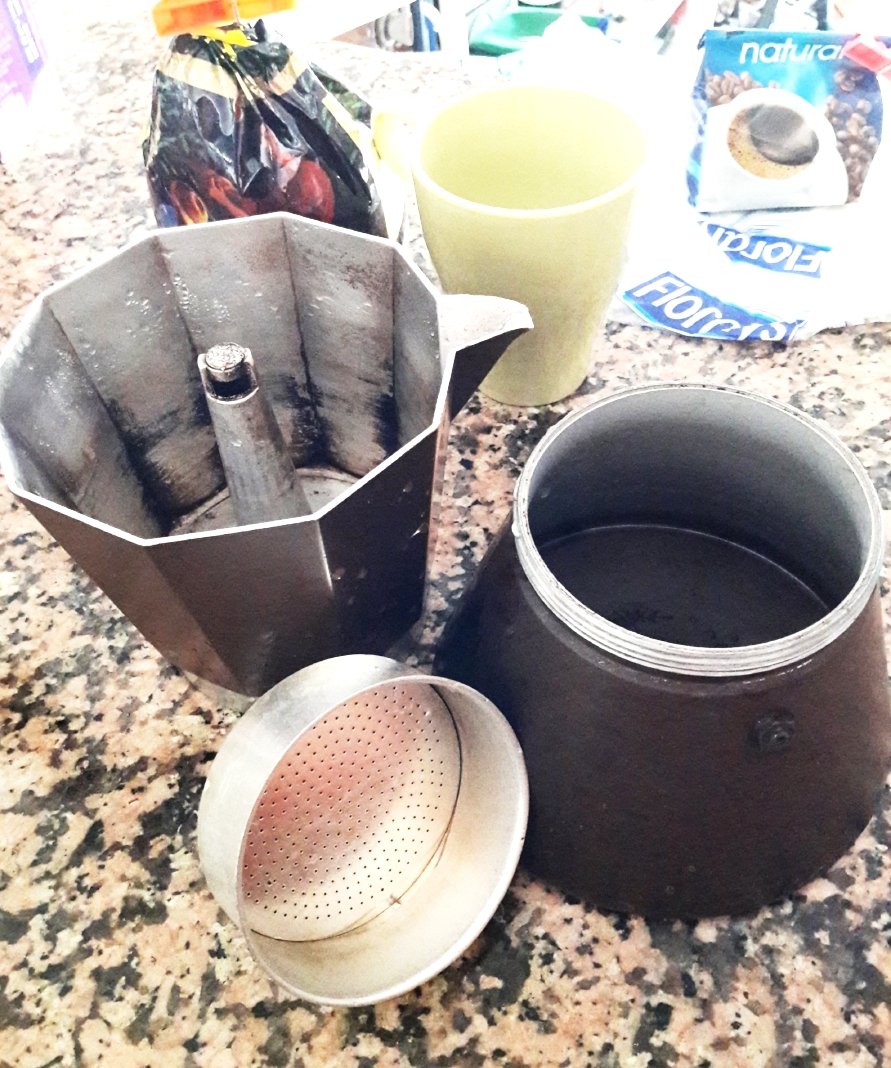 Pieces of the cafetera coffee maker
