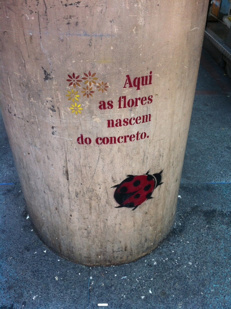 """Here flowers bloom through the concrete."""