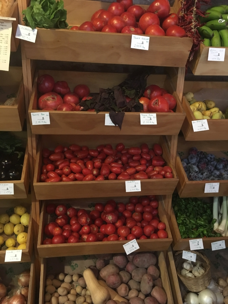Buying fruit and veg at the fruit store!