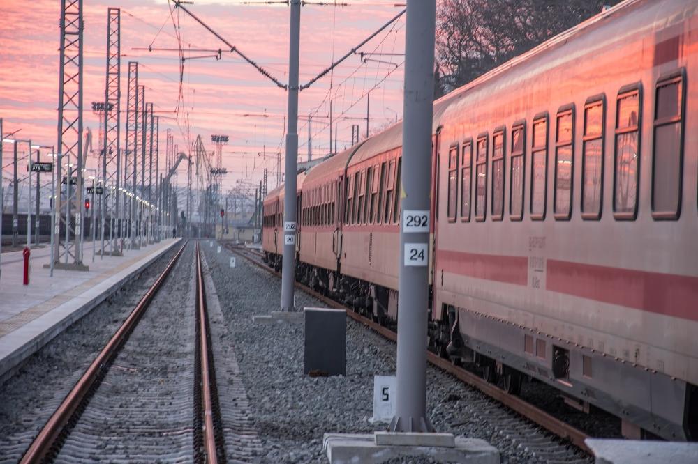 Taking the train across Bulgaria.