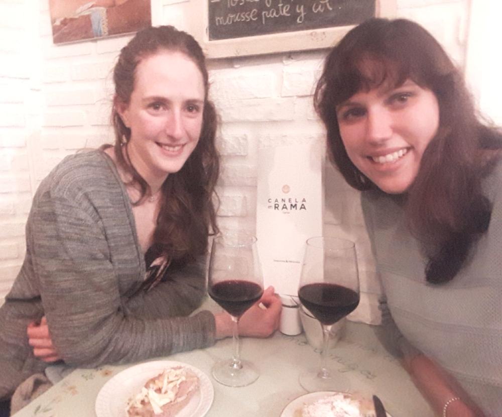 Claudia and Dani having wine