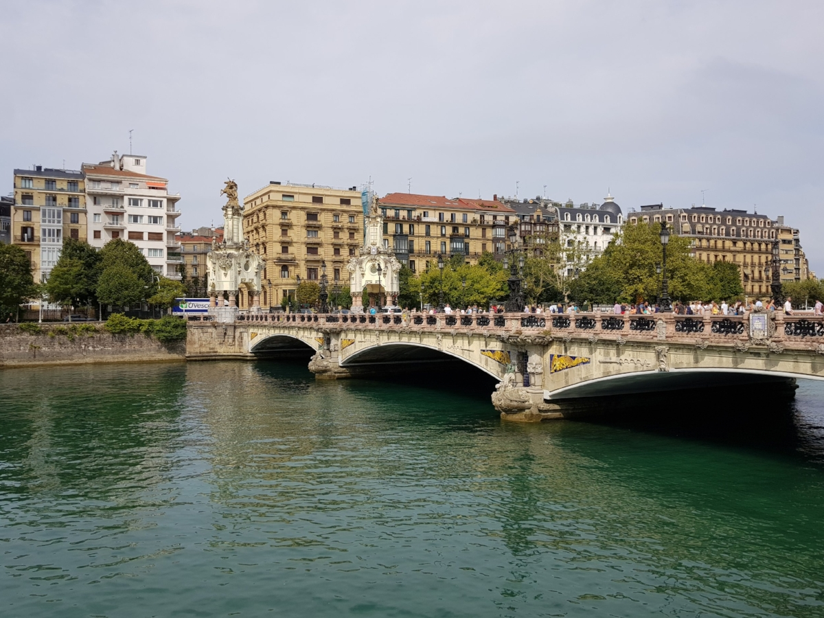 bridge and building over river