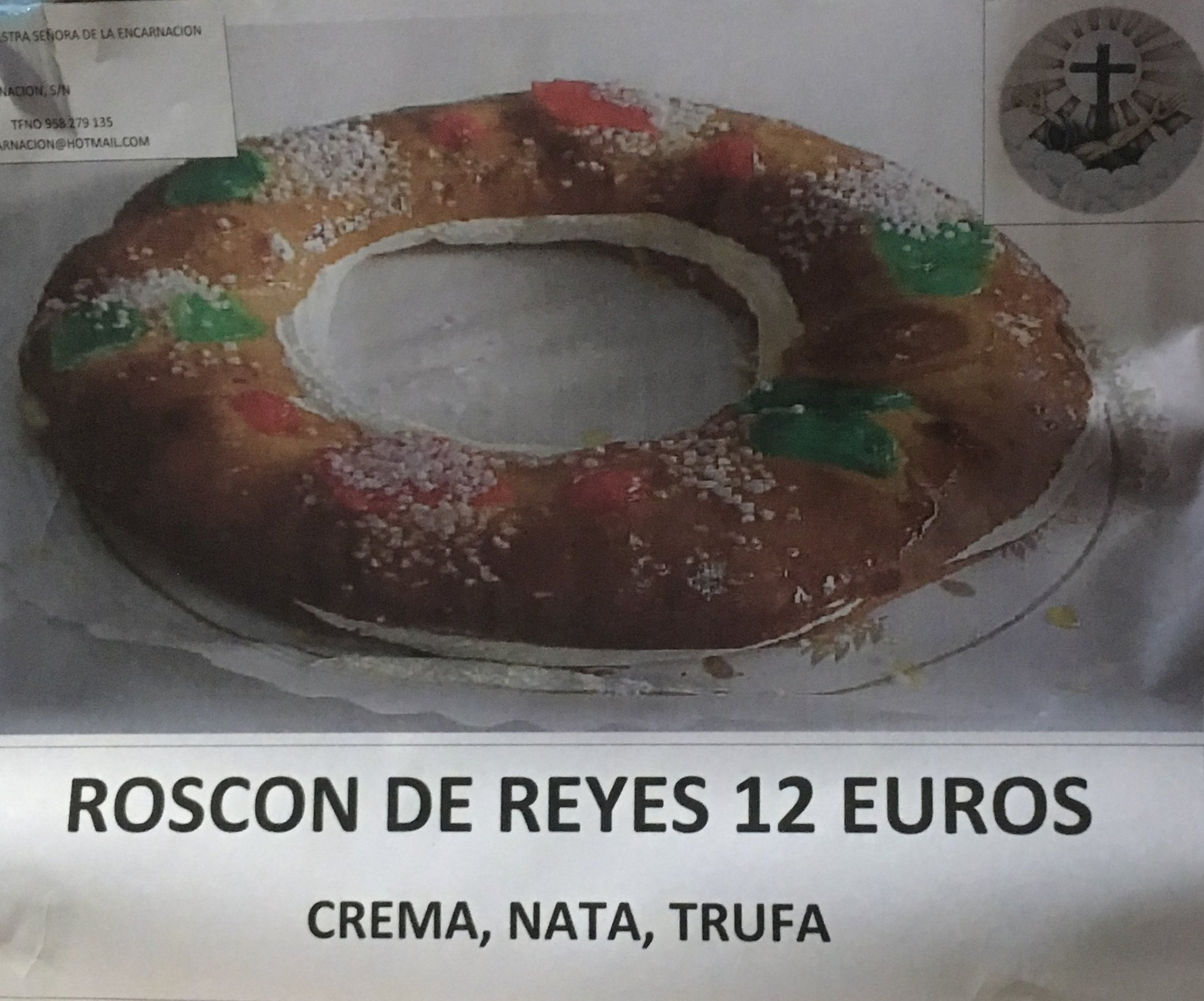 Advertisement for  roscones  at a local convent.