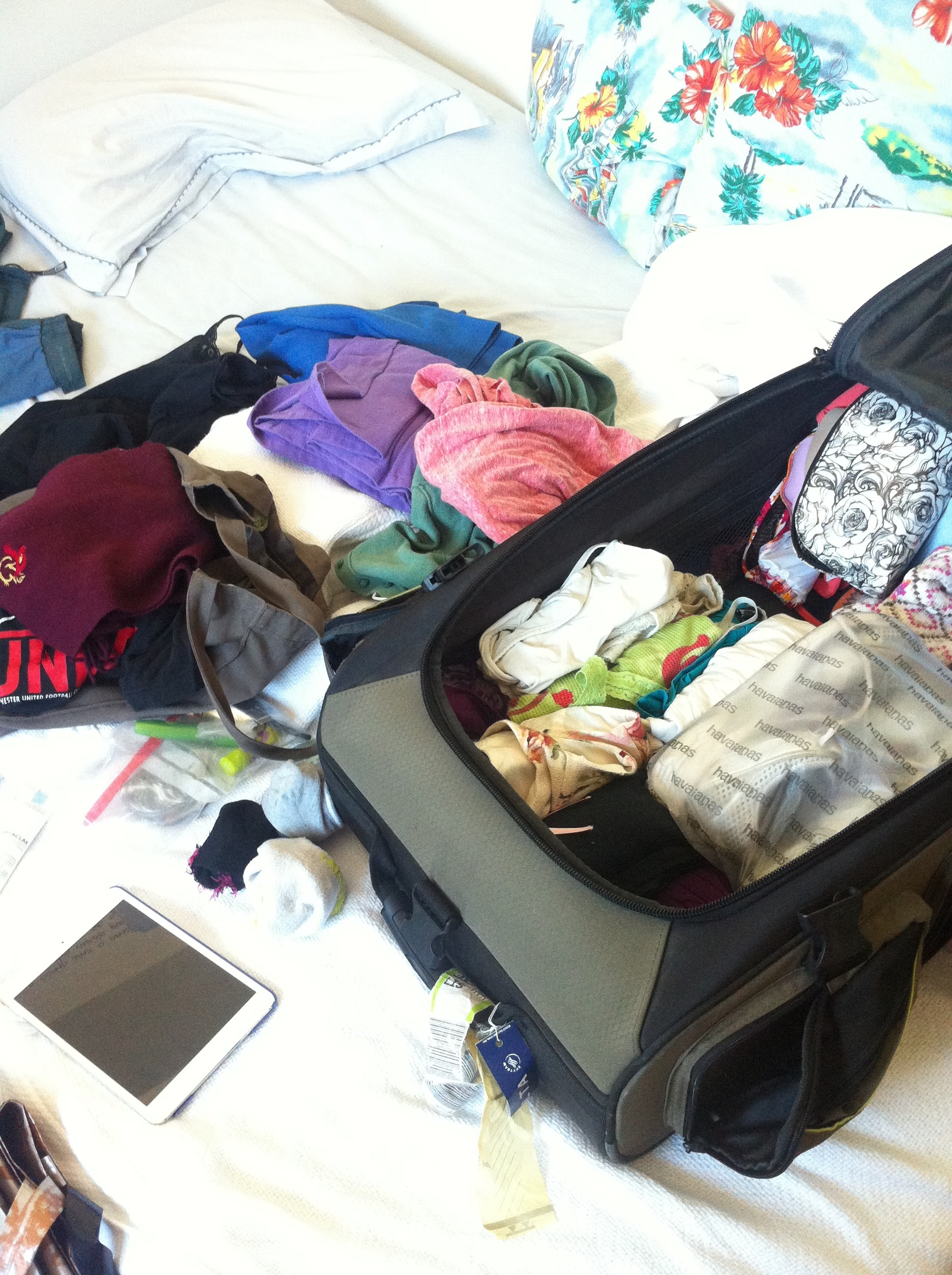 Packing a suitcase.