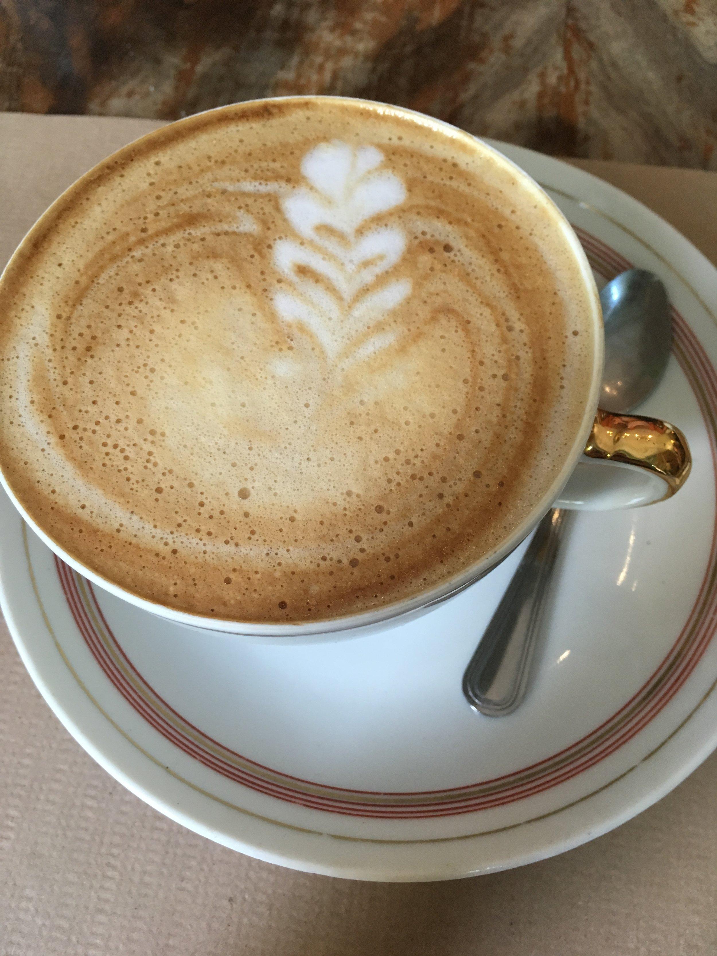 A café con leche in Barcelona.
