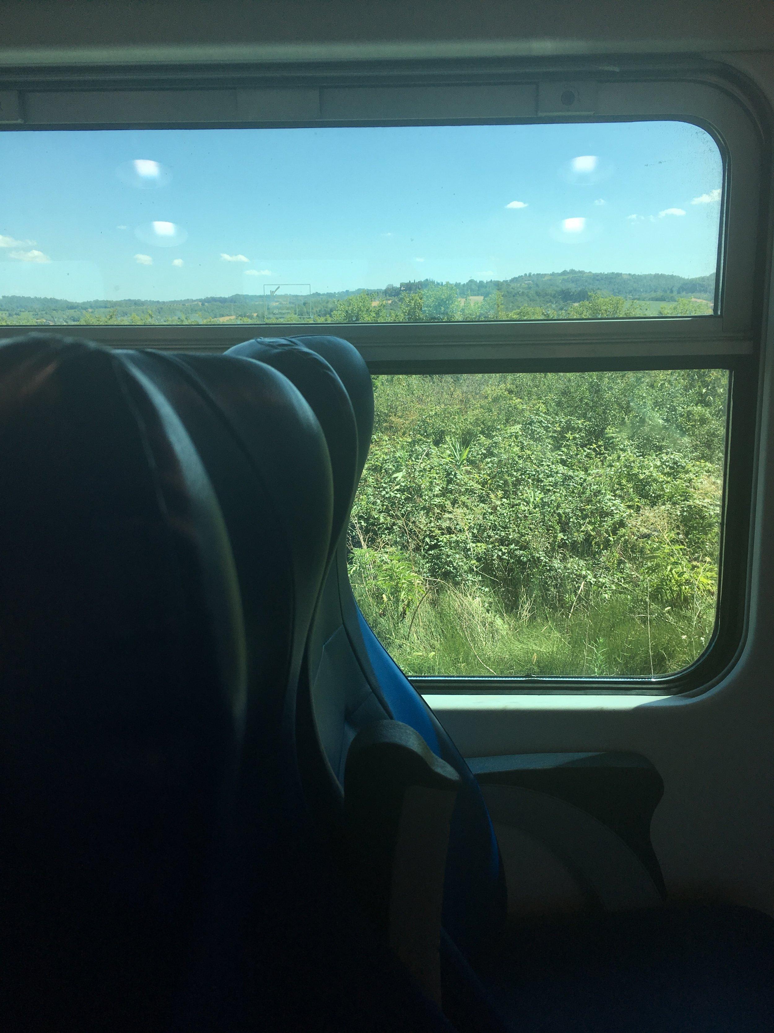 Recent train travel through Tuscany.
