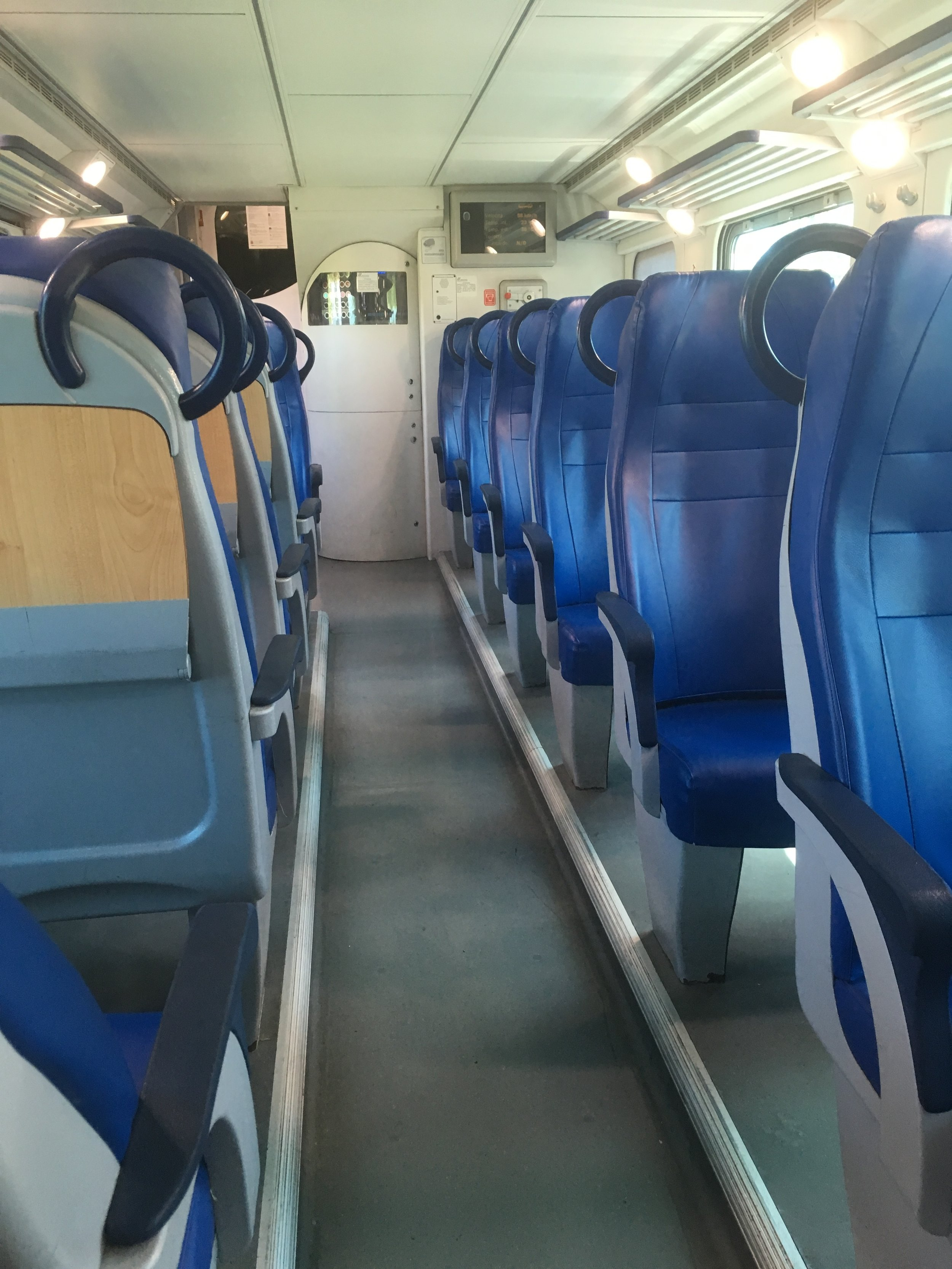 The inside of the train.