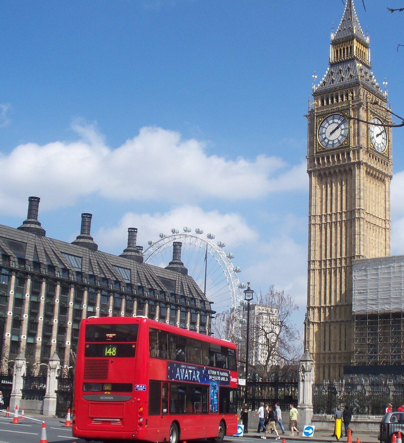 Big Ben and double-decker bus in London.