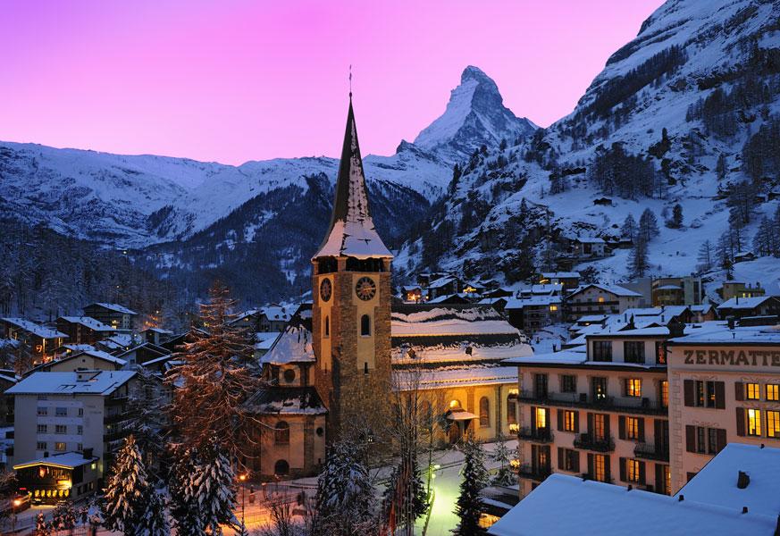 Zermatt village at night