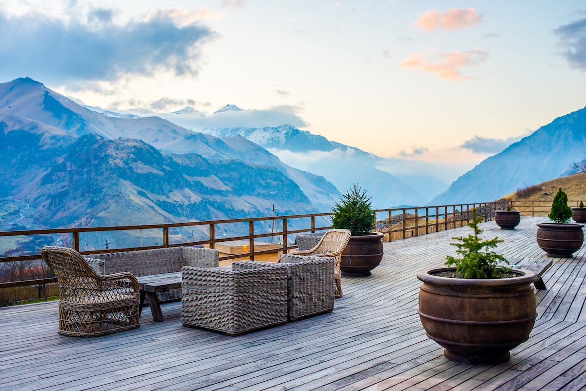 GE Rooms Kazbegi  Hotel Terrace with beautiful mountain sunset view_190604618.jpg