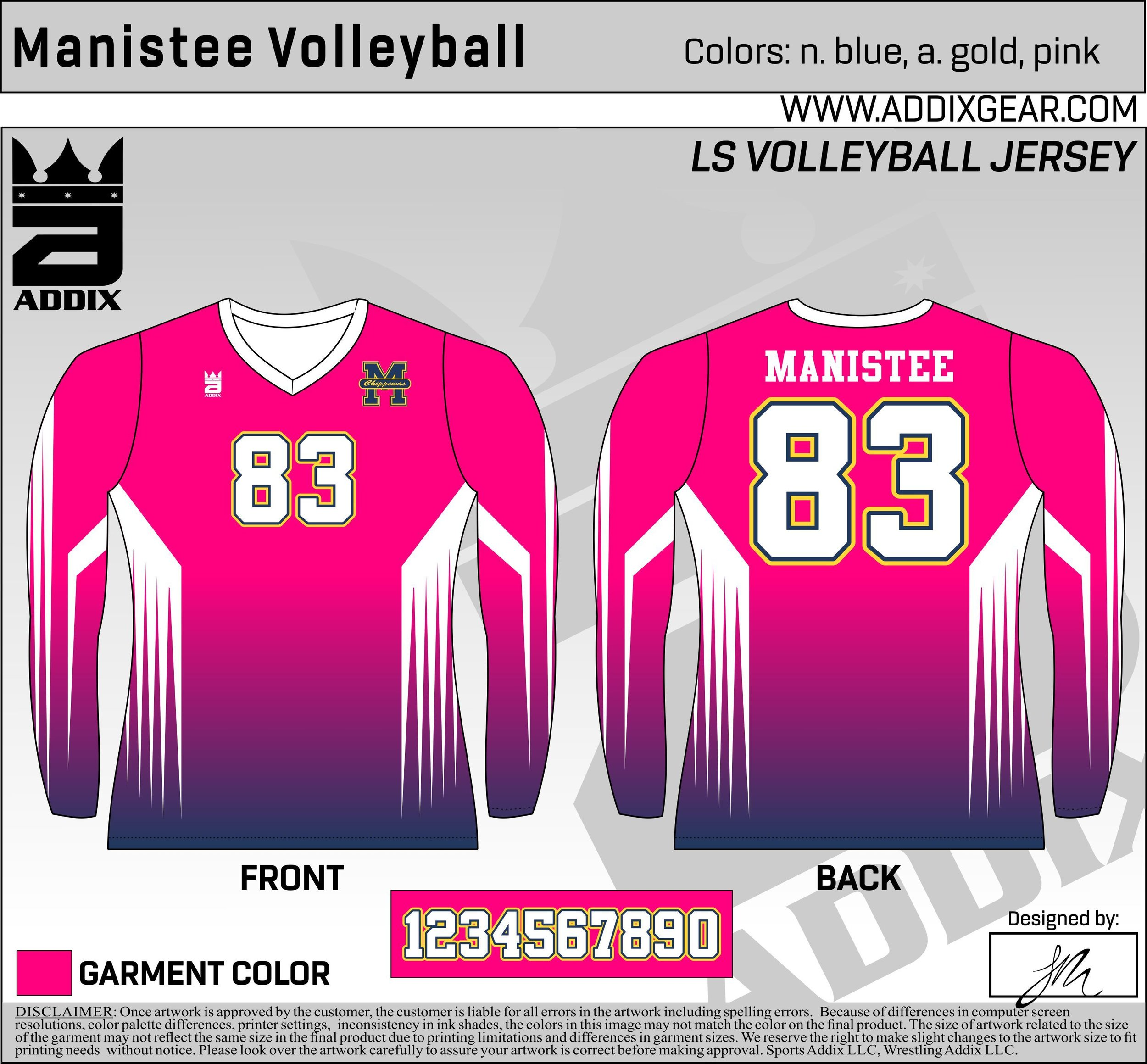 Manistee Volleyball Pink-Out Jerseys - These were the jerseys manistee wore for their pink-out game!