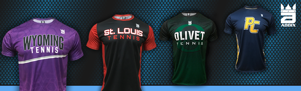 Above - Some Examples of Addix Short Sleeve Sublimated Dryfit Tennis Shirts. Custom shorts, racerbacks, and skorts are availav