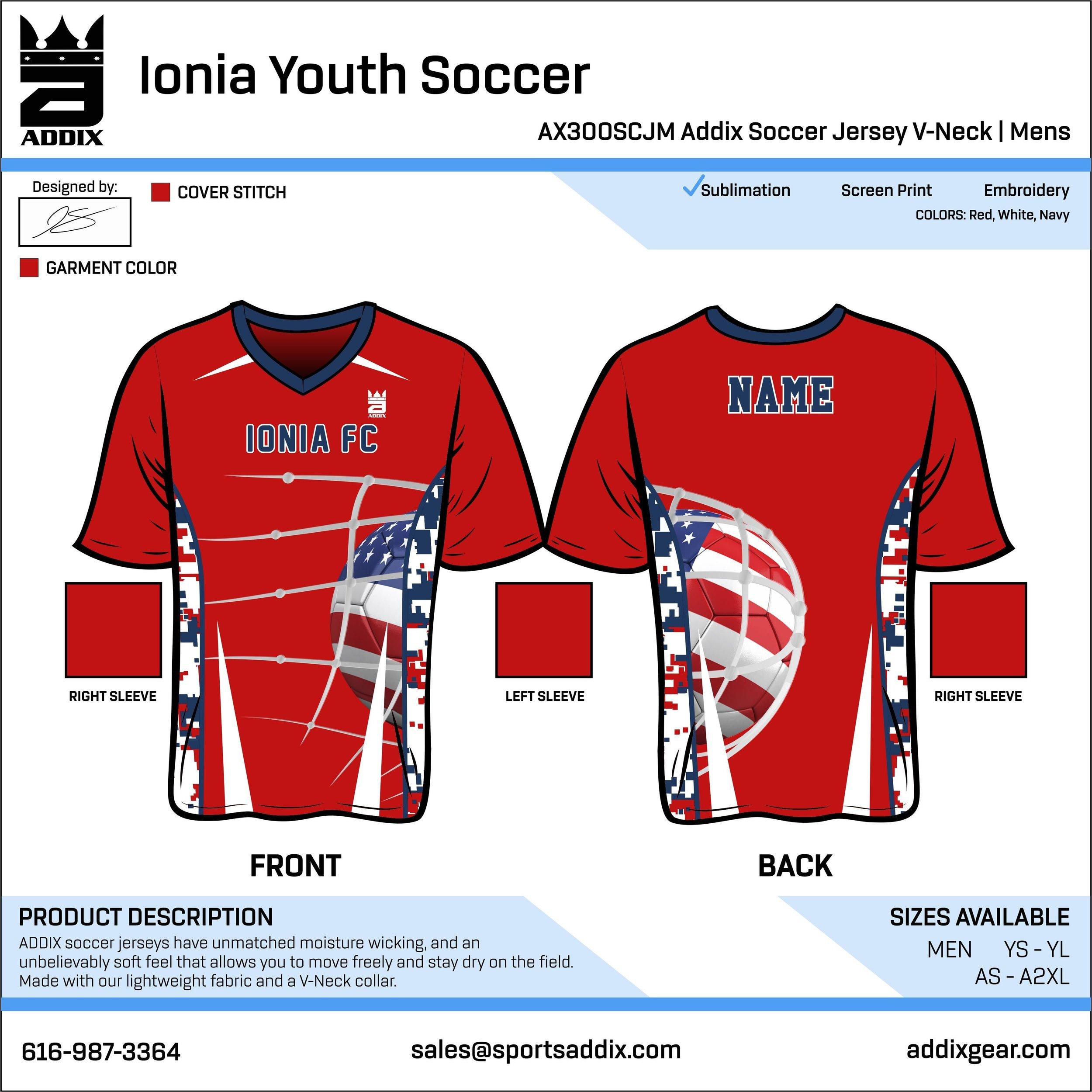 Jerseys won by Ionia FC. -