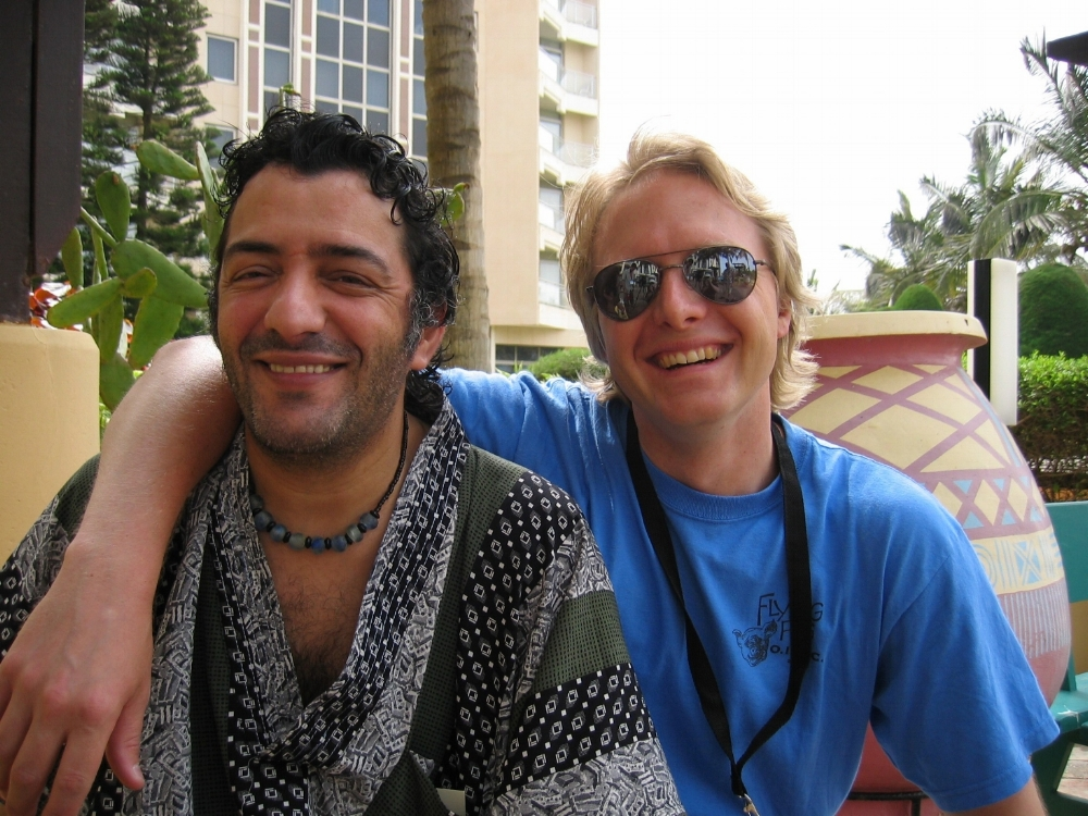 Algerian Singer Rachid Taha and Afropop Chief Audio Engineer/Co-Producer Michael Jones