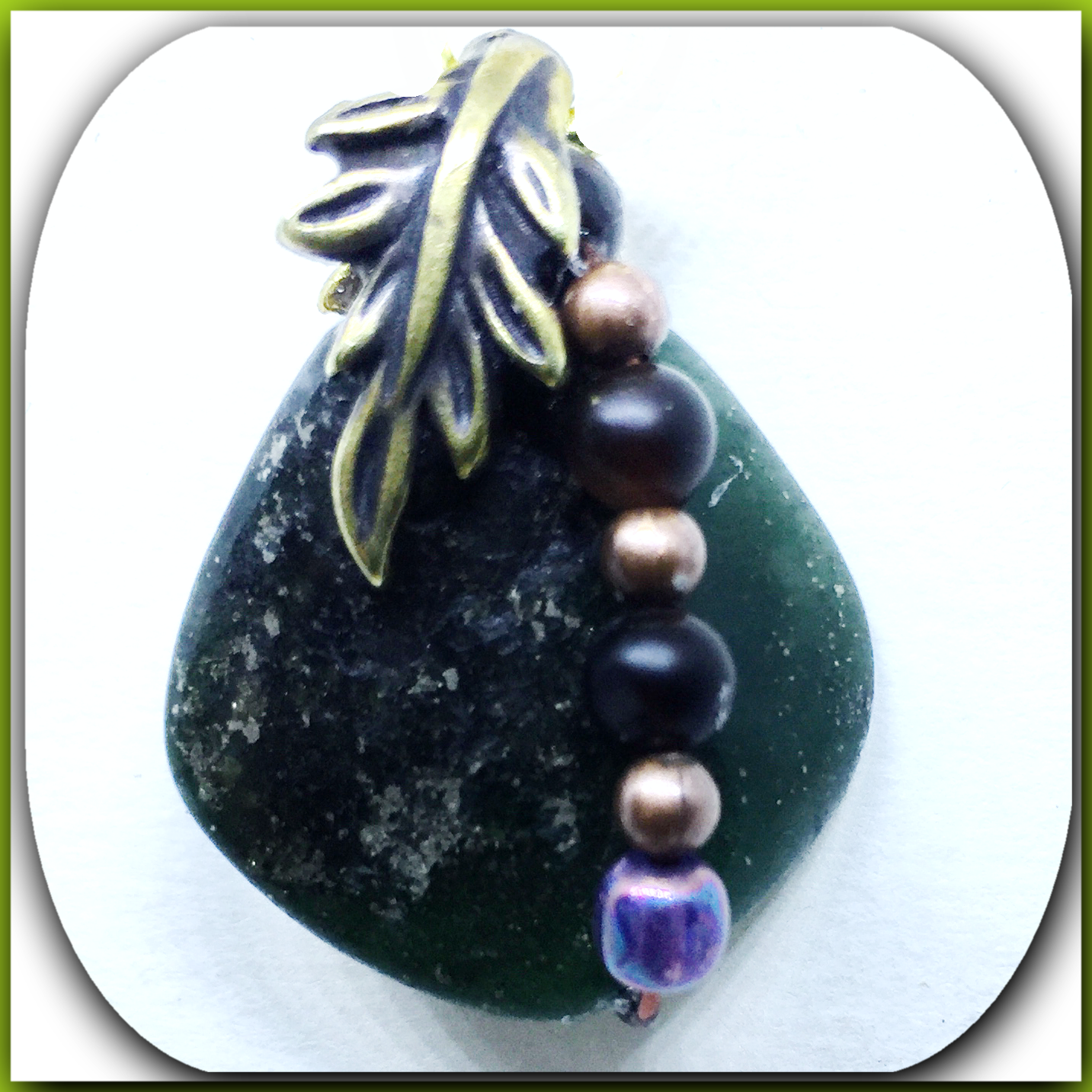 drilled stone pendants, one of a      kind, with wired beads