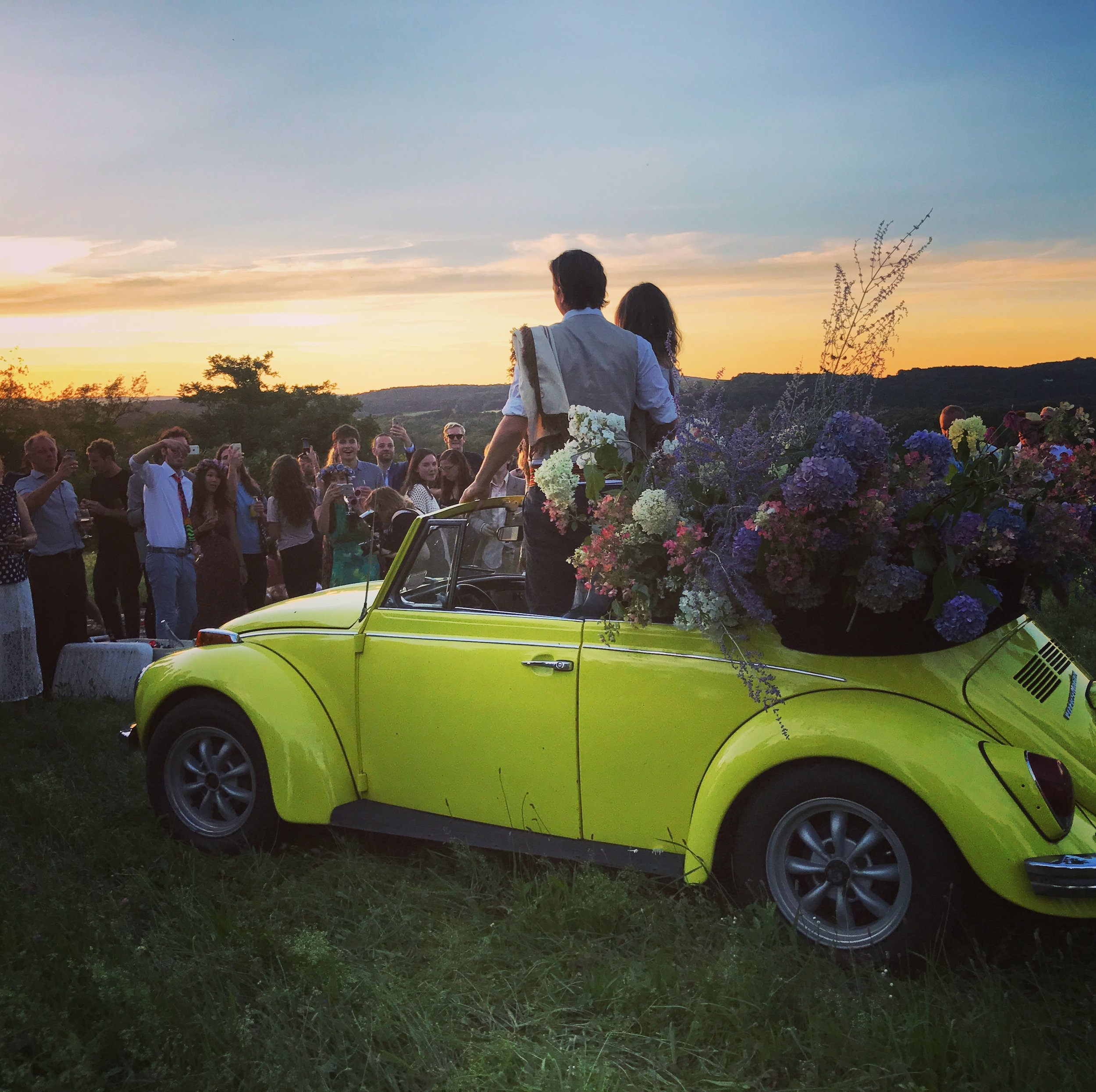 hudson-valley-farm-weddings-pioneer-farm-weddings-warwick-ny-bride-and-groom-just-married-yellow-vintage-volkswagen-beetle-flowers.jpg