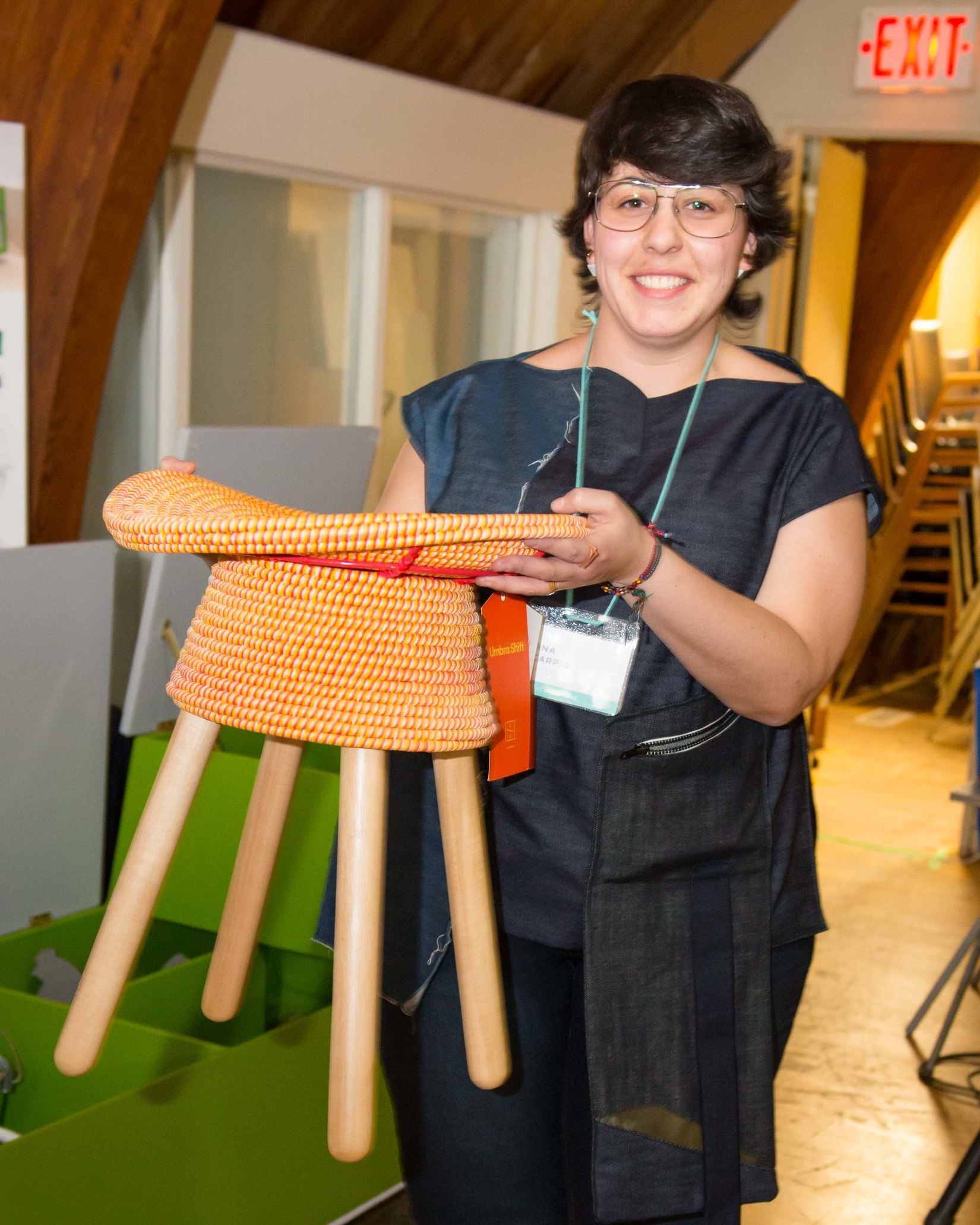 Ana Carpio with her Umbra Shift Coiled Stool.