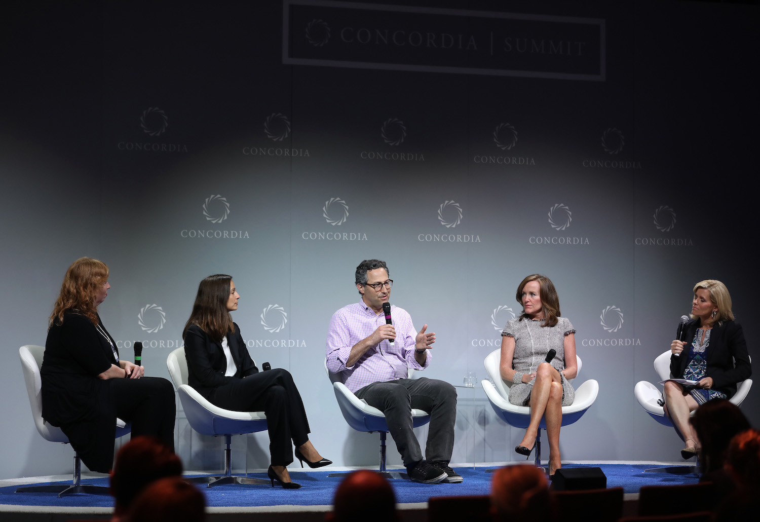 Heather Jassy, Laura Fuentes, Jeff Glueck, Kathleen Rice, and Kelly Wallace discuss paid leave at the 2016 Concordia Summit.  Photo by Ben Hider/Getty Images for Concordia Summit