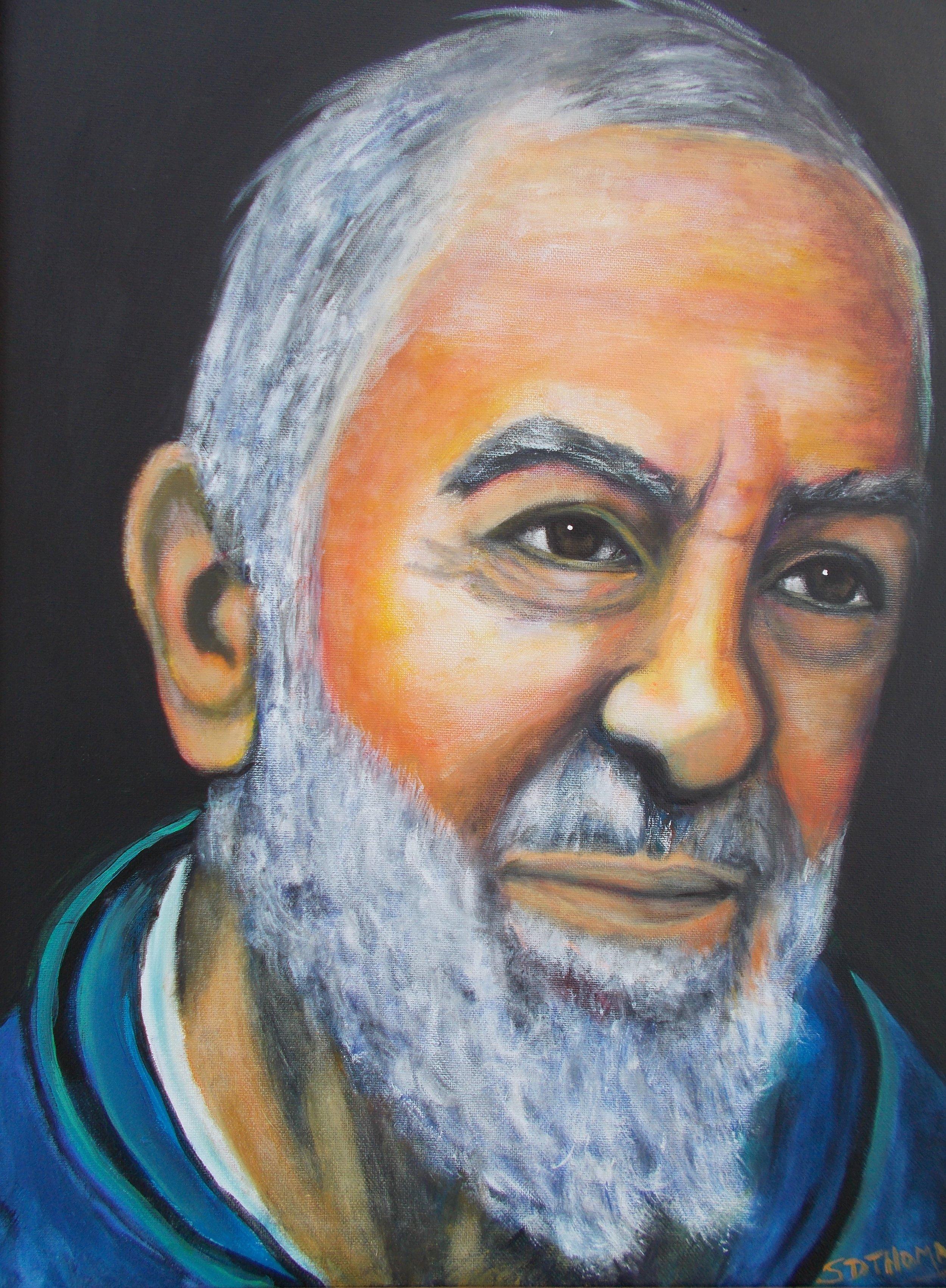Padre Pio / 18 x 24 . Acrylic . $550