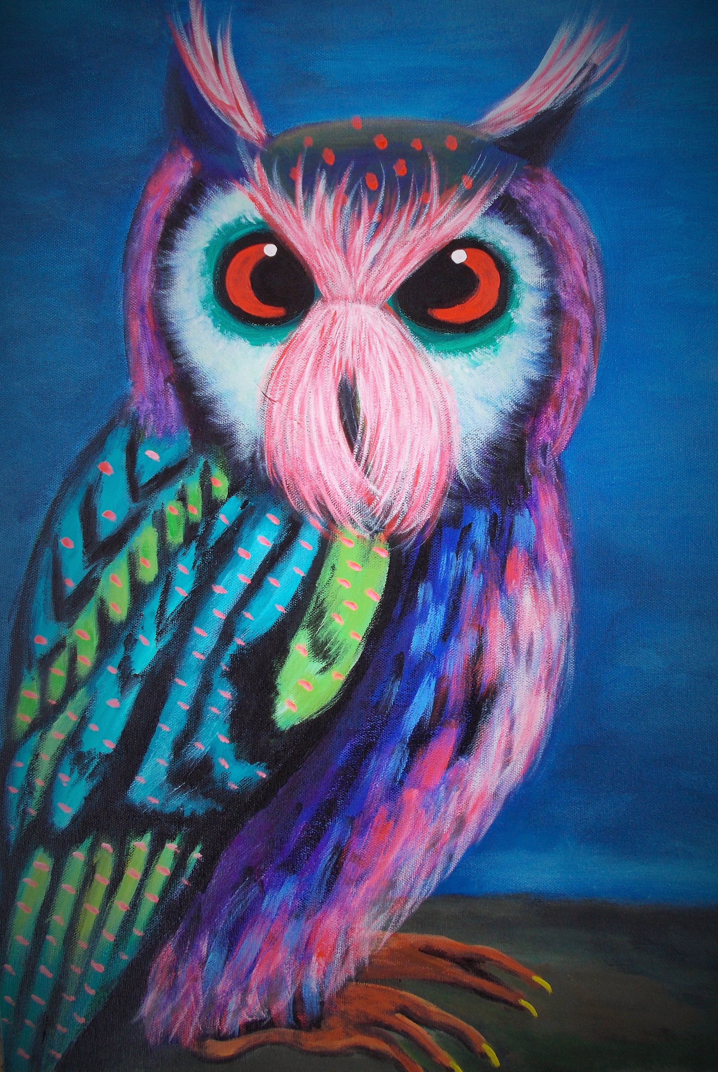 Colorful Owl / 18 x 24 . Acrylic . $500