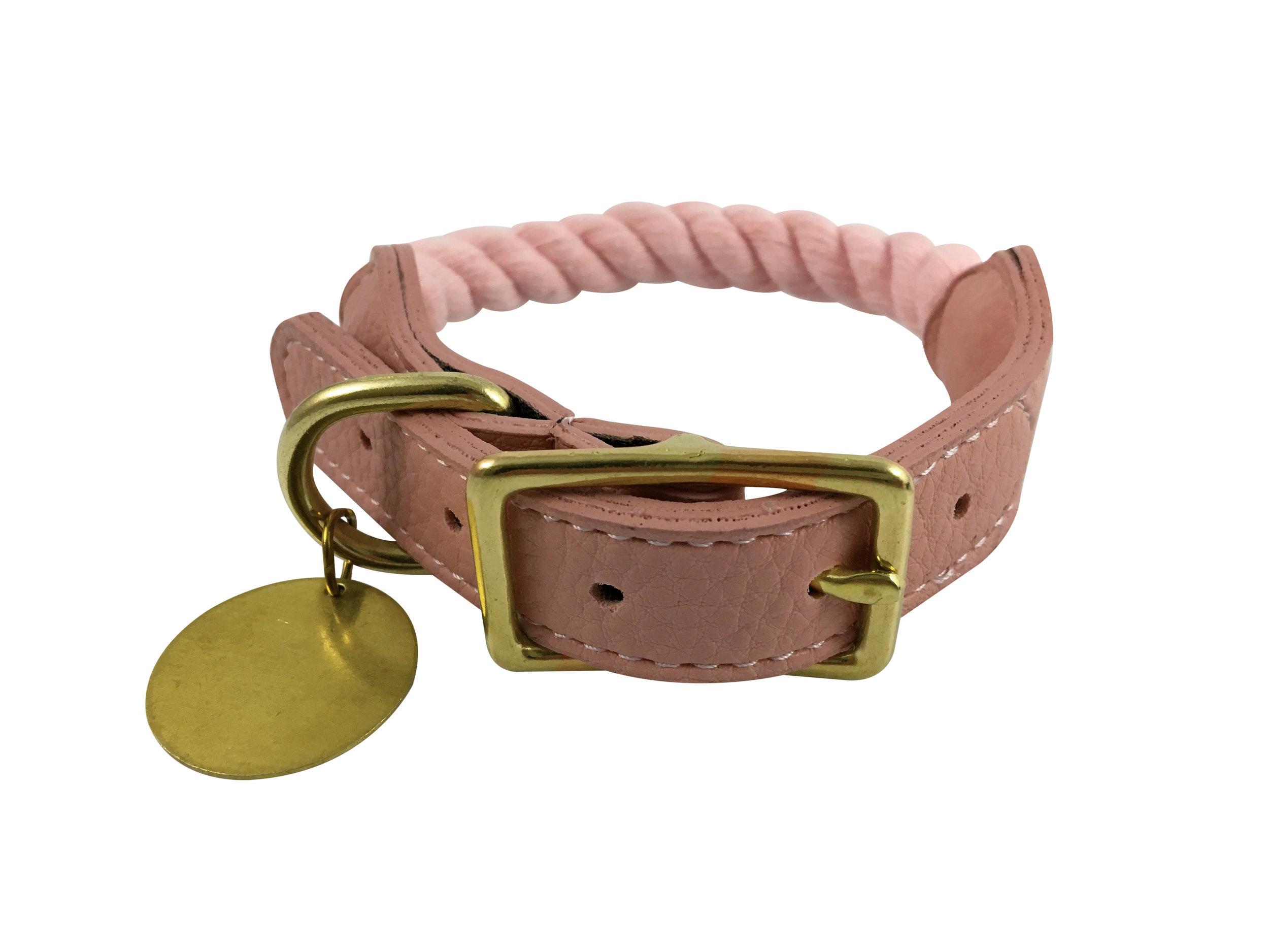 Pet Collar,Rose Quartz Pink - Available in 4 Sizes