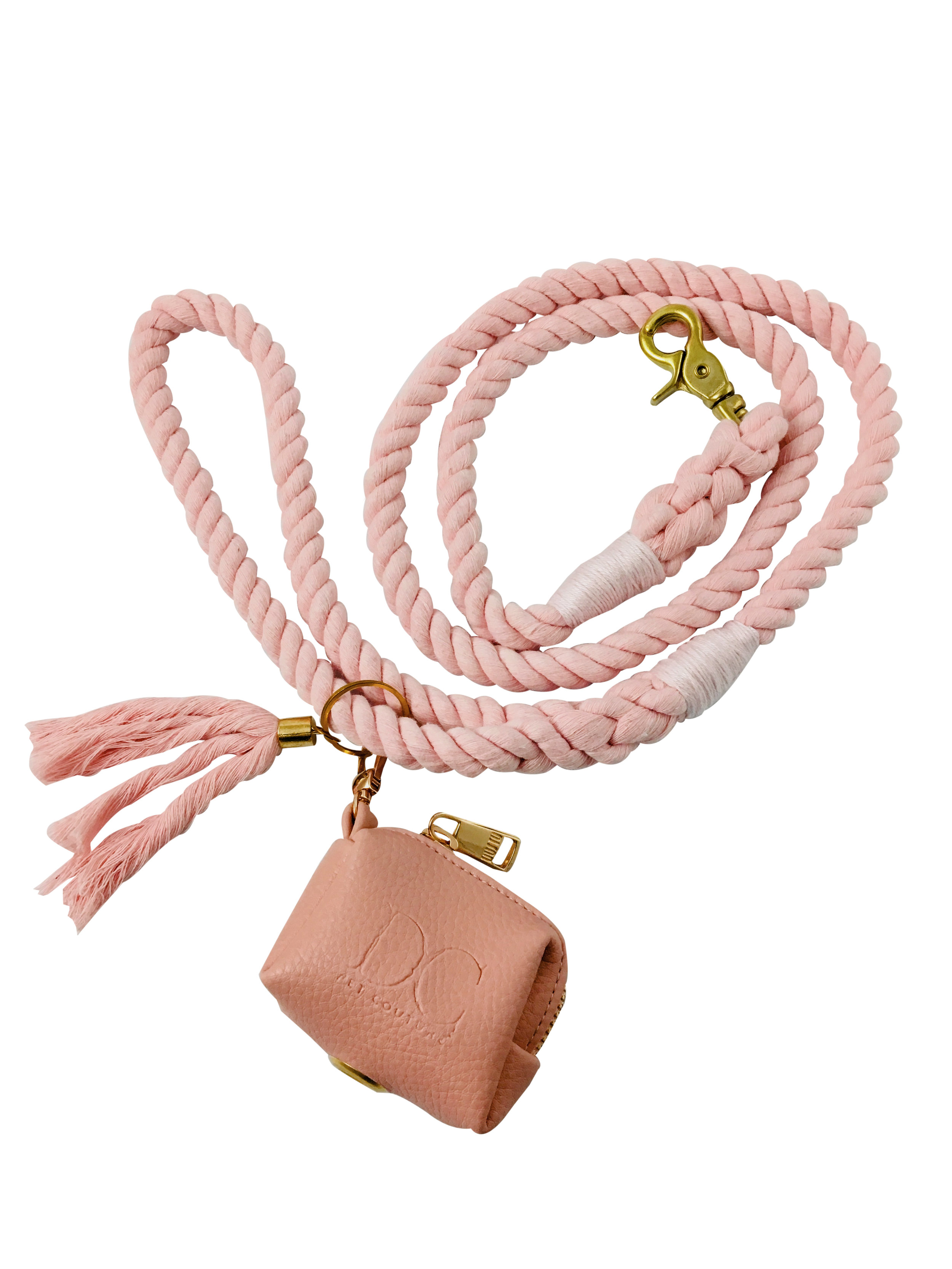 Lead with Poop Purse, Rose Quartz Pink - With decorative tassel and poop purse