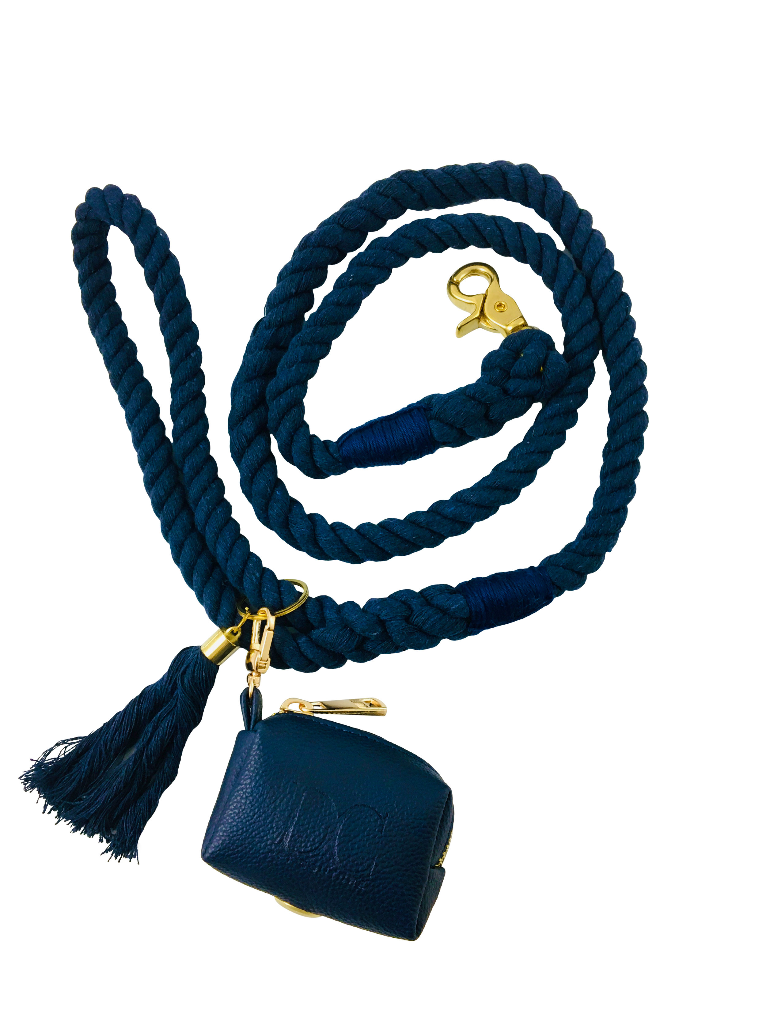 Lead with Poop Purse,Sargasso Sea Blue - With decorative tassel and poop purse