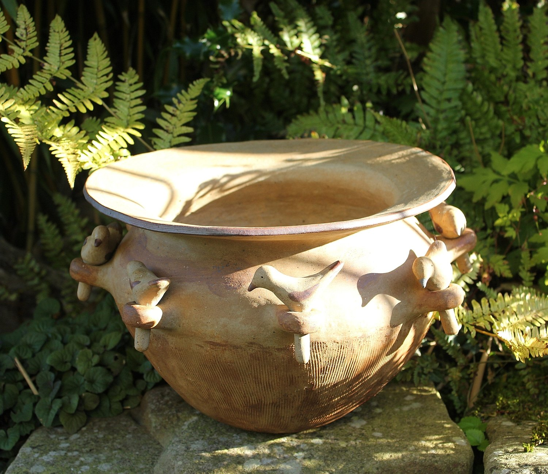 Bird pot, stoneware