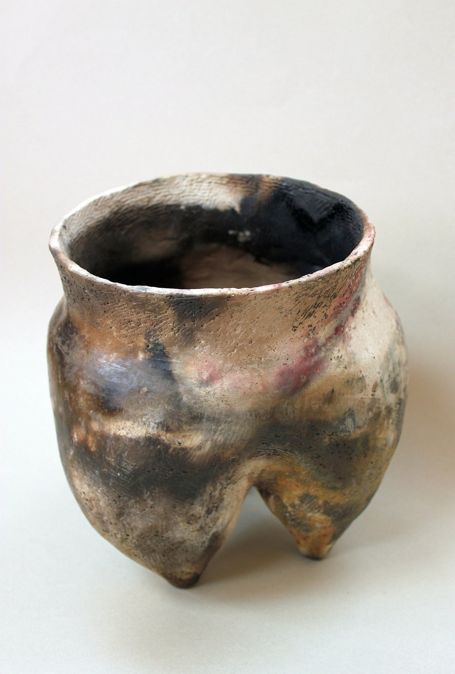 Chinese inspired pit fired tripod pot