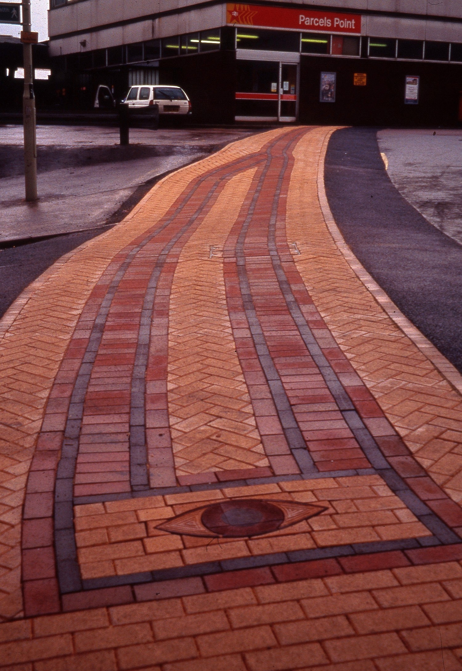 Brick pathway designed for Gloucester Railway station forecourt