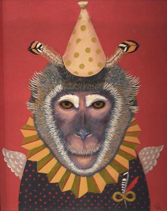"Angel Monkey oil on panel 15"" x 18"""