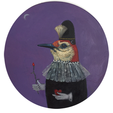 "Red-bellied Woodpecker oil 9"" round panel      sold"